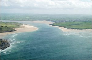 Aerial view of the Camel River Estuary