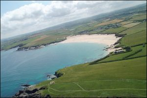 Aerial view of Harlyn Bay
