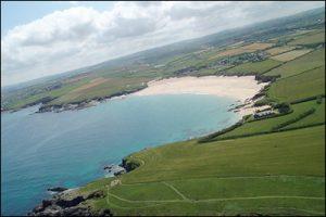 Aerial view of Harlyn Bay