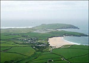 Aerial view of Harlyn and Mother Ivey's Bays