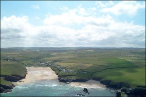 Aerial view of Porthcothan Bay